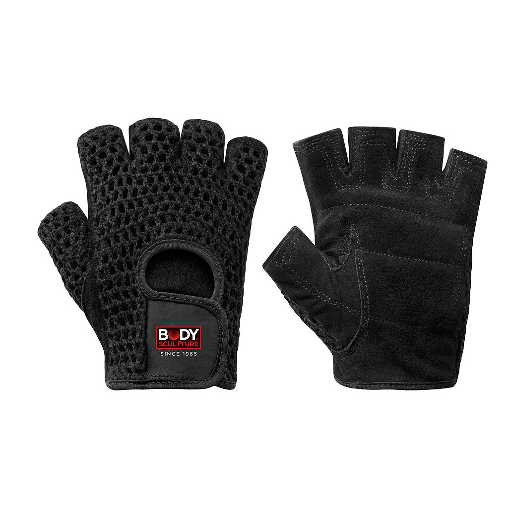 FITNESS GLOVES MSH COTTON/LEATHER:BLACK