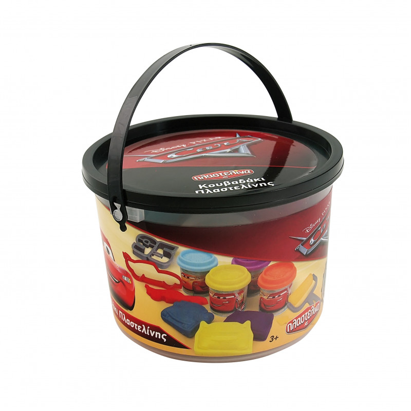 SMALL BUCKET WITH 4 DOUGH POTS 2OZ AND 8 TOOLS CARS